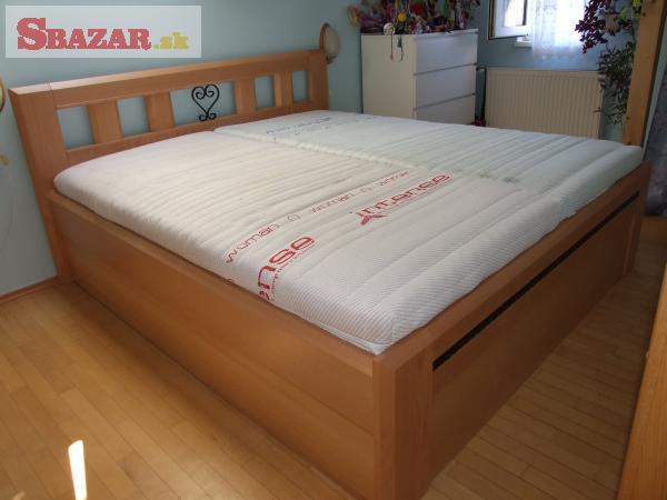 Nová buková postel, úložný prostor, kované d
