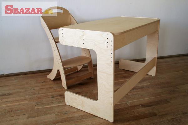 Dětský dřevěný rostoucí stůl