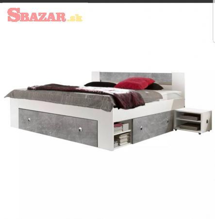 Manželská postel+nočné stolíky+rošty+matrace