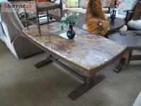 Pěkný masívní konferenční stůl s mramorem
