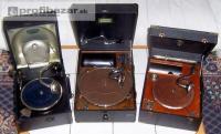 Tři starožitné gramofony na kliku, plně funkč 214373