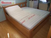 Nová buková postel, úložný prostor, kované d 247296