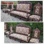Vyřezávaná sofa + křeslo + židle